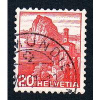 Швейцария, почтовая марка, 1936 год, номинал 20с, SG#375A (*11)