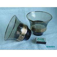 Конфетница-салатница тёмно-коричневого стекла с золотой каймой СССР (винтаж)