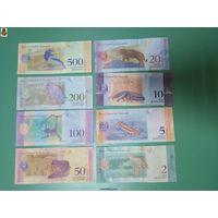 Комплект (8 шт) банкнот Венесуэлы 2018 года (2,5,10,20,50,100,200,500 боливар)