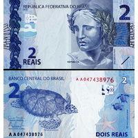 Бразилия  2 реала  2010 год  UNC