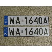 Автомобильный номер Польша WA1640A