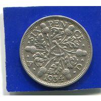 Великобритания 6 пенсов 1934 , серебро