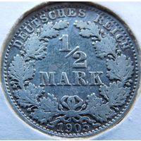 5. германия 1/2 марки 1905 год, серебро