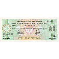 Аргентина провинция Тукуман 1 аустраль образца 1991 года UNC S2711b(2)