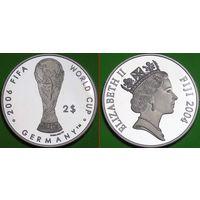 Фиджи. 2 доллара 2004 г. Чемпионат мира по футболу 2006 г. в Германии СЕРЕБРО пруф