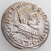 ВКЛ/ Литва, трояк/ 3 гроша/ трехгрошовик/ 3 Grossus 1591, AU, Рига/ Riga, Жигимонт III, Kopicki 8186