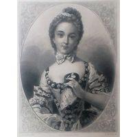 MELLE GUIMARD  РЕДКАЯ . Старинная гравюра ПАРИЖ 1860 год. оригинал 27 х18 см.