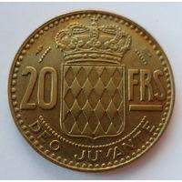 """Монако 20 франков 1950 """"Коронованный гербовый щит, князь Монако Ренье III (1923-2005)"""""""