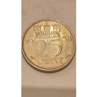 Нидерланды 25 центов 1958