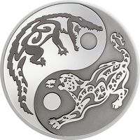 """Острова Кука 5 долларов 2017г. """"Инь-Янь: Крокодил и Ягуар"""". Black Palladium. Монета в капсуле; сертификат. СЕРЕБРО 31,10гр.(1 oz)."""
