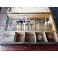 Старые прублуды граверы для чистки, полировки. Ящик дерево, петли и замок латунь, с рубля