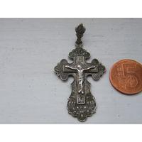 Серебряный крестик с подвеской