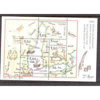 Финляндия. 1985. Почтовая доставка в 17 веке. Шведско-финская почтовая карта (1698). Блок.