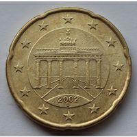 Германия, 20 евроцентов 2002 г. D