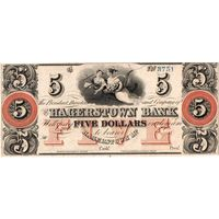 США, 5 $, The Hagerstown Bank, Maryland, 1800'. Не частые!