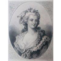 LA PRINCESSE DE LAMBALLE  РЕДКАЯ . Старинная гравюра ПАРИЖ 1860 год. оригинал 27 х18 см.