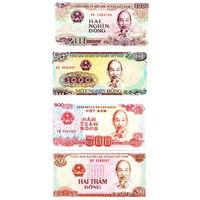 Вьетнам  200, 500, 1000, 2000 донгов  1988 год  UNC  (цена за 4 банкноты)