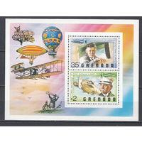 Авиация. Линдберг и Цеппелин. Гренада. 1978. 1 блок. Michel N бл49 (4,0 е).