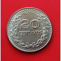 22-21 Колумбия, 20 сентаво 1974 г. Единственное предложение монеты данного года на АУ