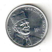 Конго 1 франк 2004 25 лет правления Иоанна Павла II /кардинал Войтыла, 1967/