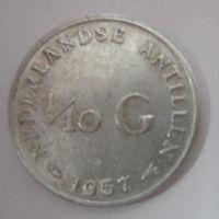 Нидерланды. 1\10 гульдена 1957. Серебро  .123