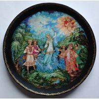 Декоративная тарелка Сказка о Снегурочке, Холуйская миниатюра 1990 СССР