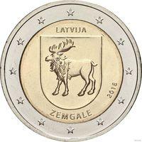 2 евро 2018 Латвия Историческая область Земгале UNC из ролла