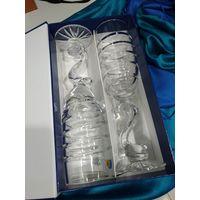 Хрустальные бокалы ручной работы в коробке