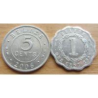 БЕЛИЗ,5центов2006г.+1цент2007г.