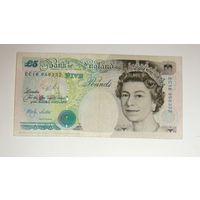 Великобритания 5 фунт 1990 г.  Снижение цены. P1-382