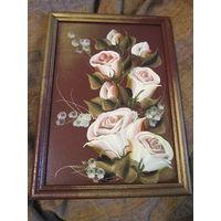 Картина на стекле . Розы