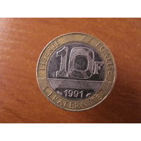 10 франков 1991 биметалл #6