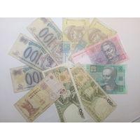 Банкноты Украина, Россия, Польша, Молдова 10 штук