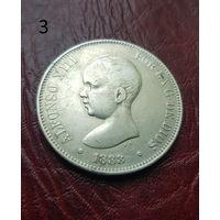 Испания, 5 песет 1888 г. mpm Младенец. (серебро) Интересная крупная монета