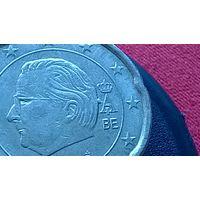Бельгия 20 центов  БРАК на затылке у Альберта