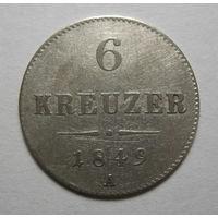 Австрия 6 крейцеров 1849 А год