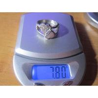 Кольцо 18 р. серебро 925 вес 7.80 гр.