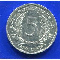 Карибские острова 5 центов 2004