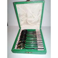 Набор кофейных ложечек в родной коробке серебро 900/875 пробы.Отличный подарок!!!