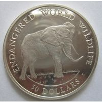 Острова Кука. 50 долларов 1990. Слон. Серебро. 98