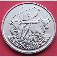 """Эфиопия. 1 цент 1969 - 1997 год  KM#43  """"Голова льва"""""""