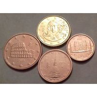 Набор евро монет Италия 2015 г. (1, 2, 5, 10 евроцентов)