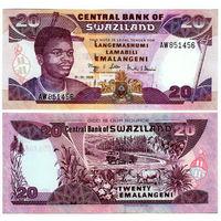 Свазиленд 20 эмалангени образца 2006 года UNC p30c