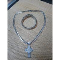 Серебряный браслет с цепочкой и крестиком 925пр.