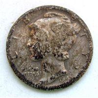 10 центов. 1943 г.  США. Серебро