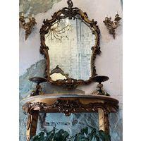 Консоль с мраморной столешницей + зеркало, Франция
