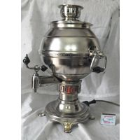 Самовар на 4 литра с горящим огоньком, электрический, форма - шар. СССР .