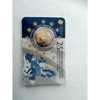 2 евро Бельгия. 25 летние образования Европейского валютного института