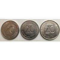 20 толаров 2003,2004,2005 Словения