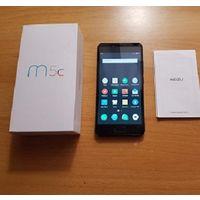 """MEIZU M5c Android, экран 5"""" IPS (720x1280), Mediatek MT6737, ОЗУ 2 ГБ, флэш-память 16 ГБ, карты памяти, камера 8 Мп, аккумулятор 3000 мАч, 2 SIM, отличное состояние, цвет корпуса золотой, экран черный"""
